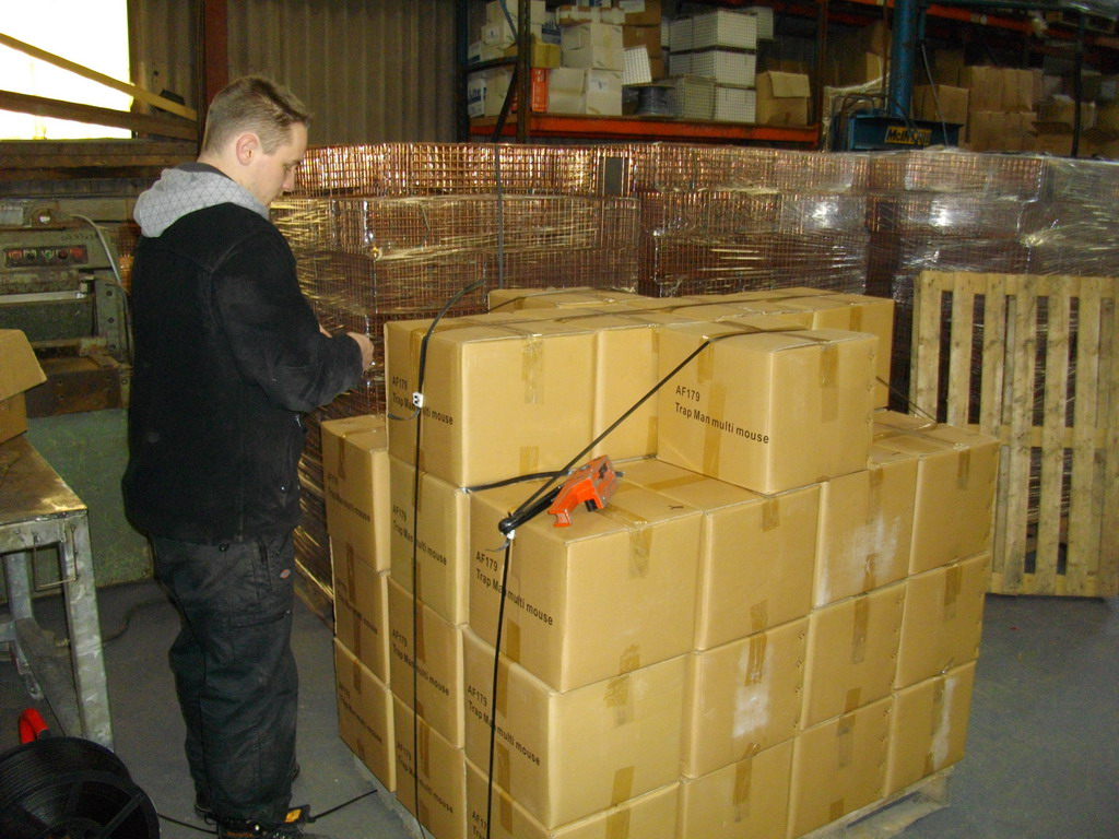 packing traps on pallets ready for dispatch